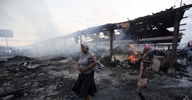 Fire engulfs popular marketplace in Haiti's capital