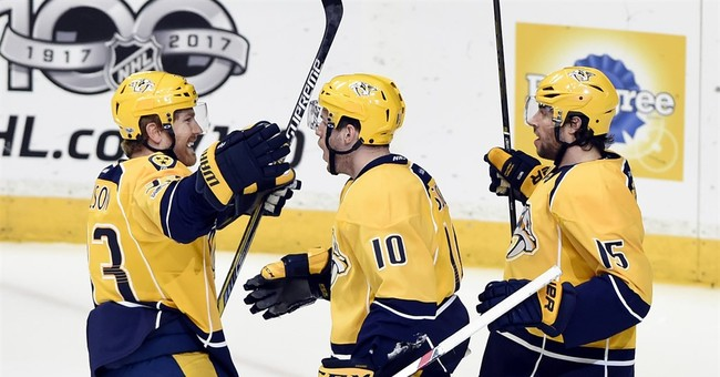 Sissons, Neal each score twice as Predators sink Sharks 7-2