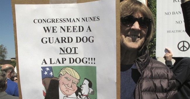 Congressman heading Russia inquiry avoids angry protesters