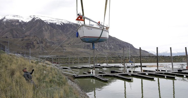 Boats left high and dry by drought back on Great Salt Lake