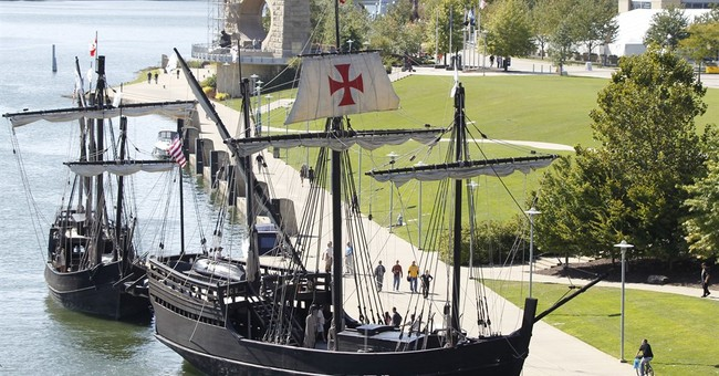Protesters On Replicas Of Christopher Columbus Ships: Those Are Black Ships Of Death