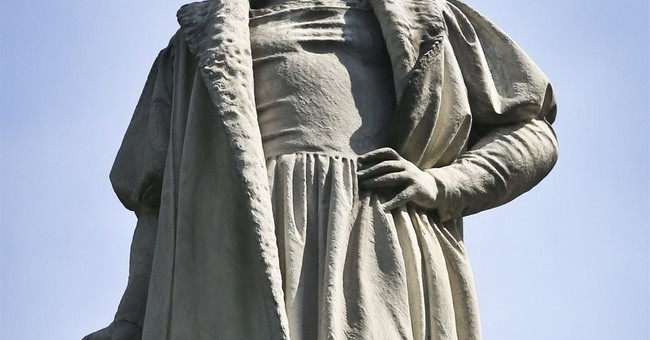 Christopher Columbus Statue Fenced off on LA's 1st 'Indigenous Peoples Day'