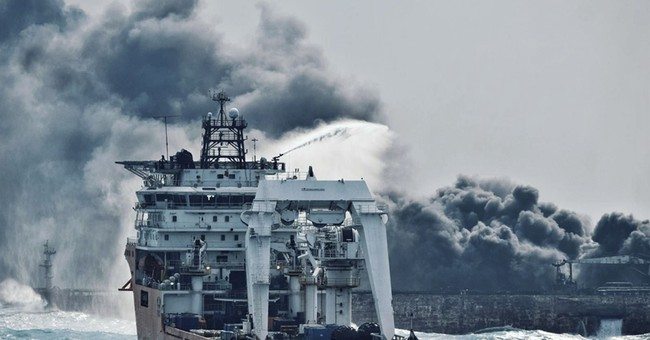 2 bodies recovered from burning oil tanker in East China Sea