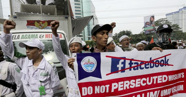 Indonesia hard-line Muslims protest ban on Facebook accounts