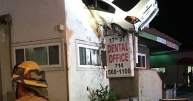 Car goes airborne, slams into 2nd floor of California office