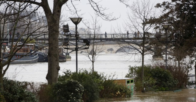 Seine River overflows its banks in Paris