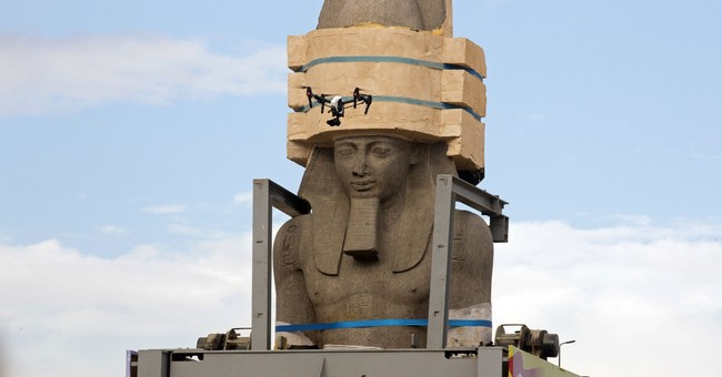 Egypt places colossus of Ramses II in atrium of new museum