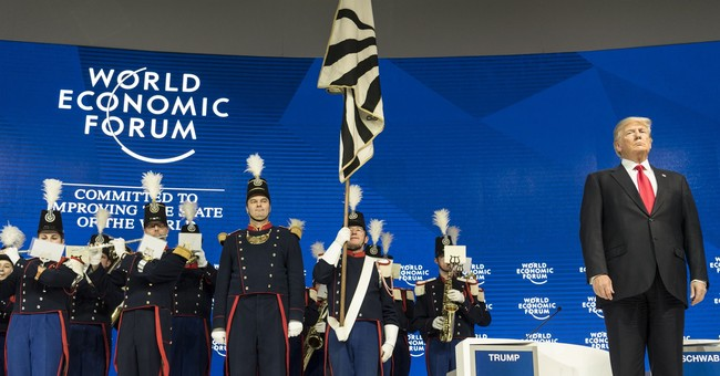 Trump-eted welcome: military band greets US leader in Davos