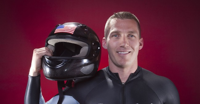 US Olympic sliders: Red, white, blue _ and a green beret
