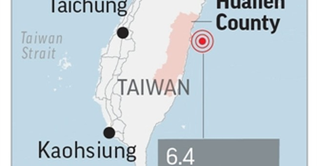 The Latest: Pope sends prayers to Taiwan quake victims