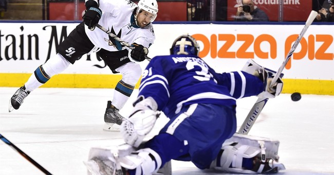 Kadri tugs at Thornton's beard, Maple Leafs beat Sharks