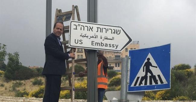 Jerusalem Mayor Puts Up Embassy Road Sign, Thanks Trump
