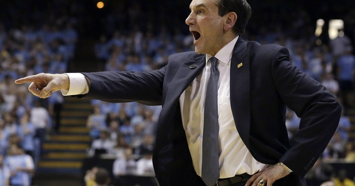 Duke coach Mike Krzyzewski points during the second half of an NCAA college basketball game against North Carolina in Chapel Hill, N.C., Thursday, Feb. 20, 2014. North Carolina won 74-6
