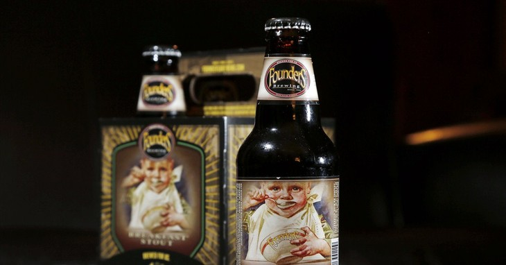 Founders Brewing Breakfast Stout is photographed in North Andover, Mass., Thursday, Jan. 15, 2015. Babies and bottles normally get along just fine, unless a picture of that baby happens