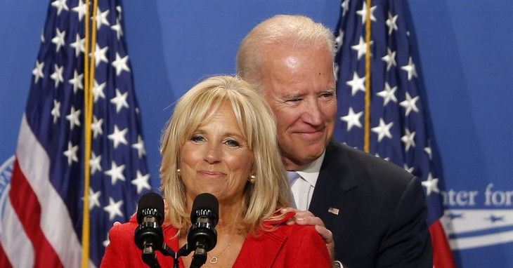 FILE - In this photo taken on June 23, 2014, Jill Biden introduces her husband, U.S. Vice President Joe Biden, at The White House Summit on Working Families, in Washington. Vice Preside