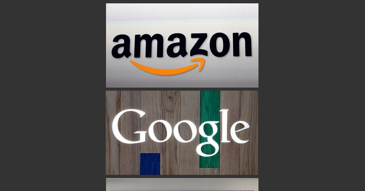This photo combo of images shows the Amazon, Google and Facebook logos. Technology's big-spending trio of Google, Facebook and Amazon.com appear to be tightening their belts a notch in