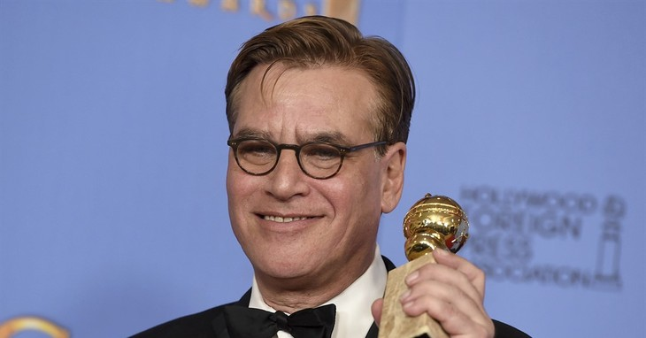 FILE - In this Jan. 10, 2016, file photo, Aaron Sorkin poses in the press room with the award for best screenplay - motion picture for