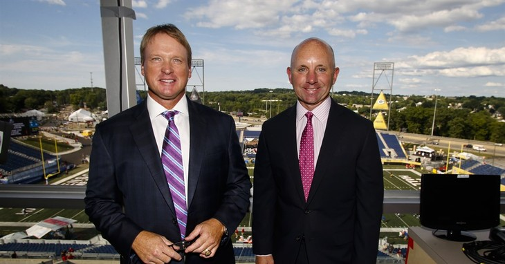 FILE - In this Aug. 7, 2016, file photo, ESPN Monday Night Football announcers Jon Gruden, left, and Sean McDonough stand in the press box of Tom Benson Hall of Fame Stadium before a pr