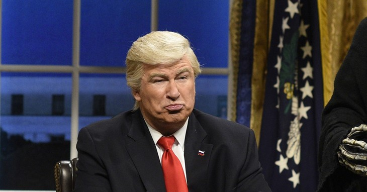 FILE - This Feb. 4, 2017 file photo released by NBC shows Alec Baldwin portraying President Donald Trump in the opening sketch of