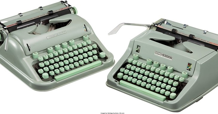 This undated photo provided by Heritage Auctions shows two of Larry McMurtry's typewriters which he used to write his Pulitzer Prize-winning novel
