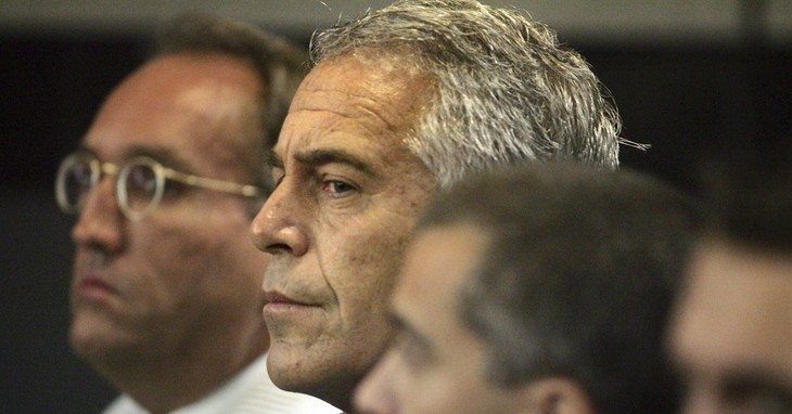 FILE- In this July 30, 2008 file photo, Jeffrey Epstein is shown in custody in West Palm Beach, Fla. Labor Secretary nominee Alexander Acosta is expected to face questions at his Senate