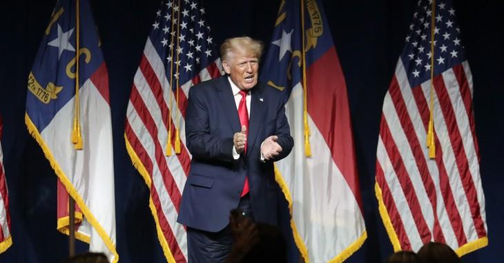 Trump, wearing pants properly in North Carolina.