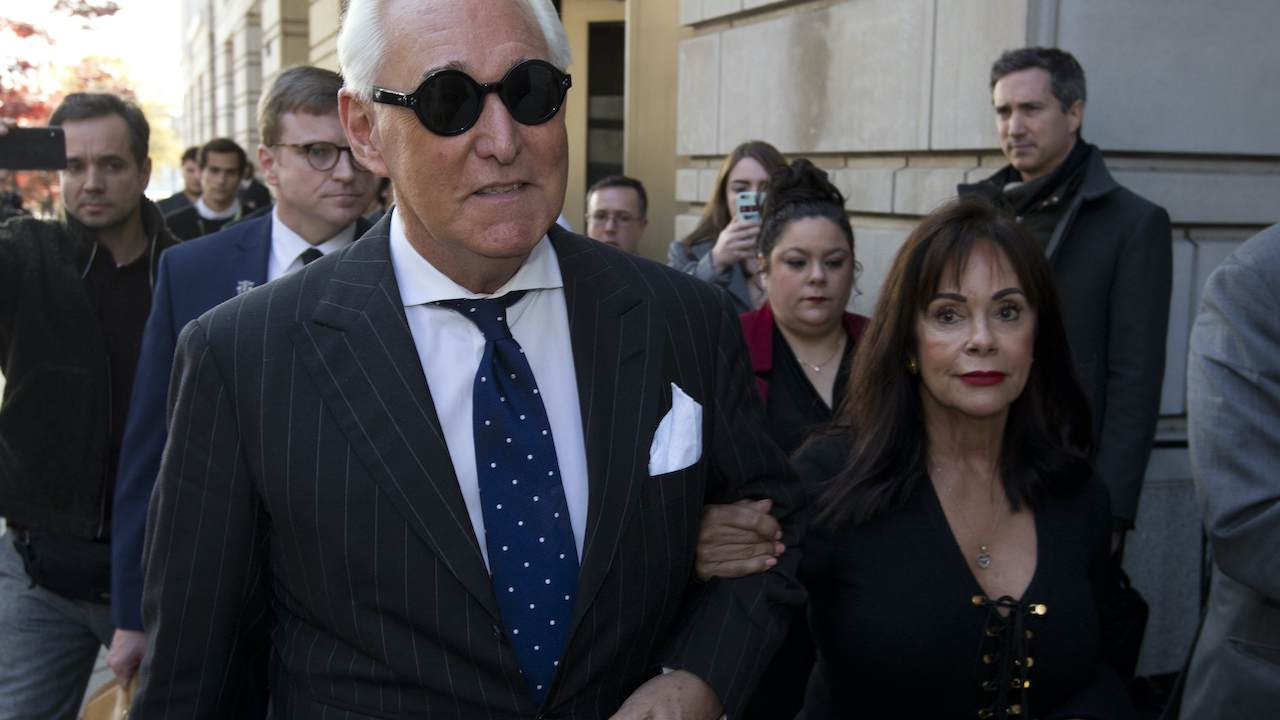 Roger Stone Heckled as He Leaves Court After Being Sentenced to Three Years in Prison